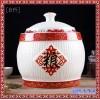 景德镇带盖青花米缸陶瓷米桶储米箱10斤猪油罐腌菜茶叶罐家用